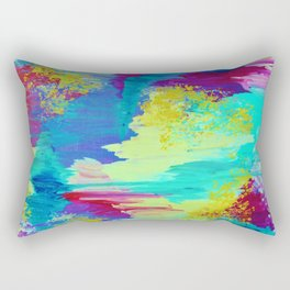 SUGARY GOODNESS - Lovely Cotton Candy Sweet Dreams Colorful Rainbow Abstract Chevron Ikat Painting Rectangular Pillow