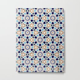 Persian Mosaic – Blue & Gold Palette Metal Print