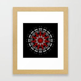 Bright Red Silver Star Flower Mandala Framed Art Print