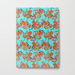 Tigers and Tiger Lilies (Blue Background) Metal Print