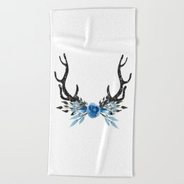 Floral Deer Antler Beach Towel