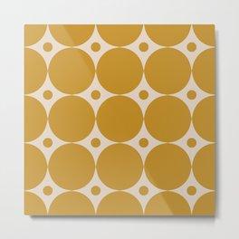 Futura Mid-century Modern Minimalist Abstract Pattern in Mustard Gold Metal Print