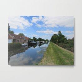 Canal De la Somme at Cappy Marina          Metal Print