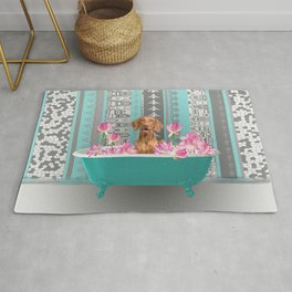 Bathtub with Weimaraner and Lotus Flowers Rug