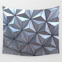 spaceship Wall Tapestries featuring Spaceship Earth by Jillian Stanton