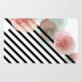 Watercolor Floral with Stripes Rug