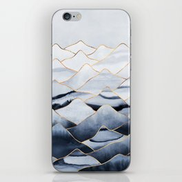Mountains 2 - Gold Colored Lines iPhone Skin