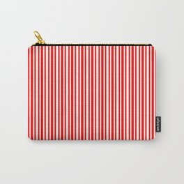 Red & Mint Cream Colored Lined/Striped Pattern Carry-All Pouch
