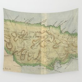 Vintage Map of Jamaica (1780) Wall Tapestry