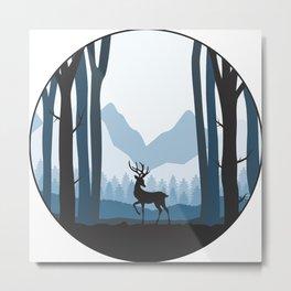 Reindeer in the Woods Metal Print