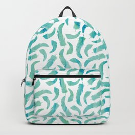 Green Watercolor Feathers Backpack