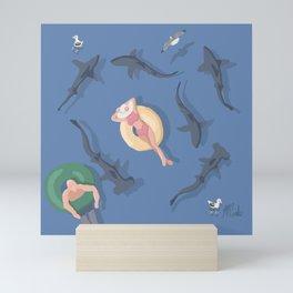 Sharks in the water Mini Art Print
