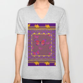 Amethyst Color Art Monarch Butterflies Yellow-Purple Unisex V-Neck