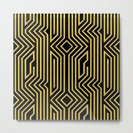 3-D Art Deco Gold Architectural Style Pattern Metal Print
