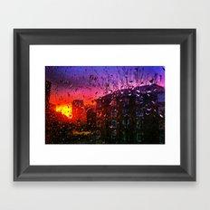 Sunset through water droplets Framed Art Print