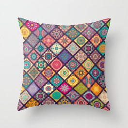 Diagonal Mandala Quilt Bee Throw Pillow