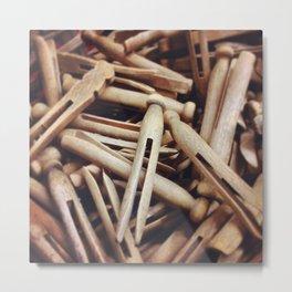 Wooden Pin-Up Metal Print