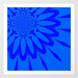 The Modern Flower Blue on Blue Art Print
