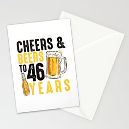46th Birthday Gifts Drinking Shirt for Men or Women - Cheers and Beers Stationery Cards