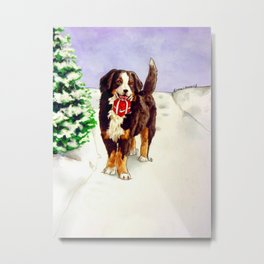 Snowy Delivery Metal Print