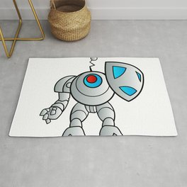 robot with a shield Rug