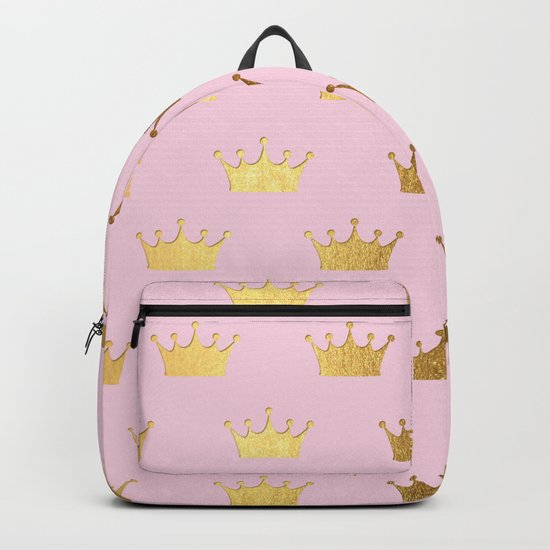 Gold Glitter effect crowns on pink - Royal Pattern for Princesses on #Society6 Backpack