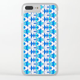 Sky Blue and Bright Cyan Indian Arrowhead Abstract on Bright Clean White Southwestern Design Pattern Clear iPhone Case