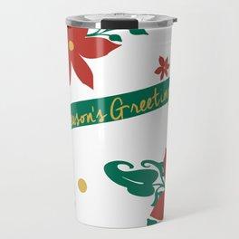 Season's Greetings Floral Pattern 1 Travel Mug