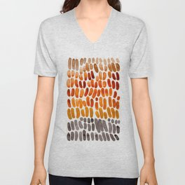 Yellow Ochre Brown Dark Brown Fall Autumn Color Palette Natural Patterns Colorful WatercolorAbstract Unisex V-Neck
