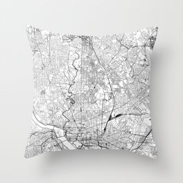 Washington D.C. White Map Throw Pillow