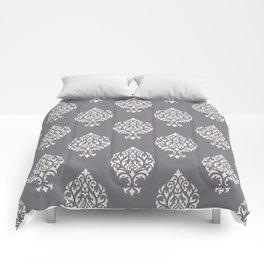 Orna Damask Pattern Cream on Grey Comforters