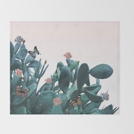 Cactus & Flowers - Follow your butterflies Throw Blanket