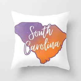 South Carolina Map State Watercolor Country Print Throw Pillow