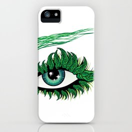 Spring eye with green leaves iPhone Case