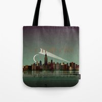 gotham Tote Bags featuring Gotham City by WyattDesign