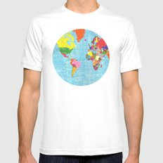 world map White MEDIUM Mens Fitted Tee