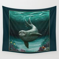 hawaiian Wall Tapestries featuring Hawaiian Monk Seal ~ Acrylic by Amber Marine