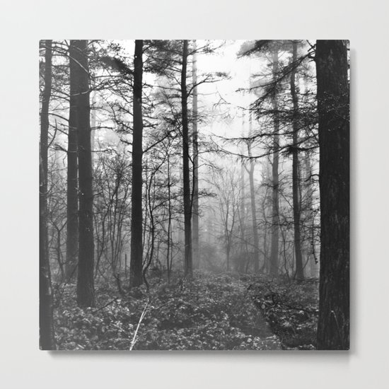 Dark & Eerie Foggy Forest (Black & White) Metal Print