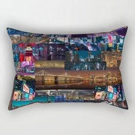 Cities of the world at night Rectangular Pillow