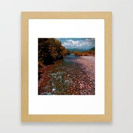 Autumn mountain river #photography #landscape Framed Art Print