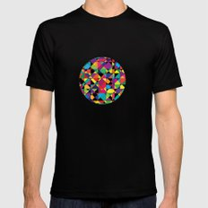 Abstract shapes MEDIUM Black Mens Fitted Tee