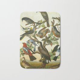Vintage Bird Painting Bath Mat