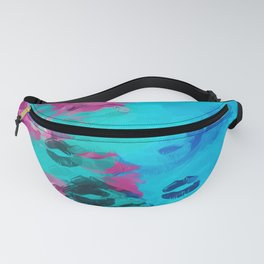 blue and pink kisses lipstick texture abstract background Fanny Pack