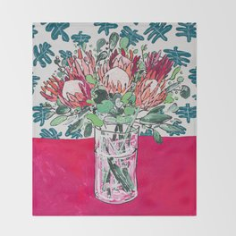 Bouquet of Proteas with Matisse Cutout Wallpaper Throw Blanket