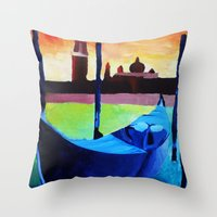 Throw Pillows featuring Gondola by Maria DeRosa