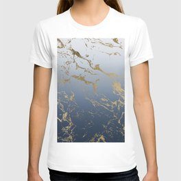Modern grey navy blue ombre gold marble pattern T-shirt