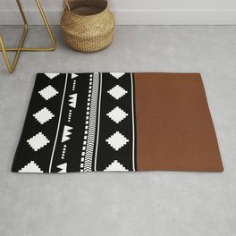 Southwestern Black with faux leather texture Rug