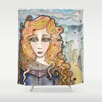 black widow Shower Curtains featuring Widow by Aleksandra Jevtovic