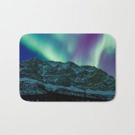 Aurora Borealis Over Mountains Bath Mat