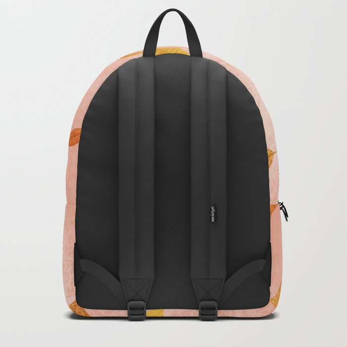 Autumn-world 2 - gold glitter leaves on pink background Backpack